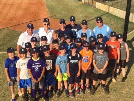 Photo of Mayor Skip Wilson's visit with Chapin All-Stars Baseball Teams at ballfield