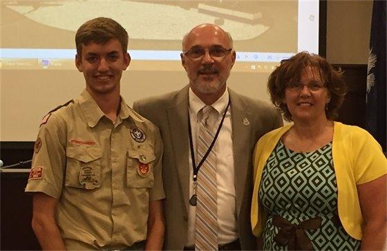 Doug Long and Kari McKeone with Mayor Wilson