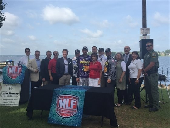 Photo of dignitaries at the Major League Fishing announcement at Lake Murray dam