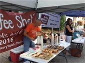 Photo from June Farmers Market of Jerry with Coffee Shelf making ice coffees